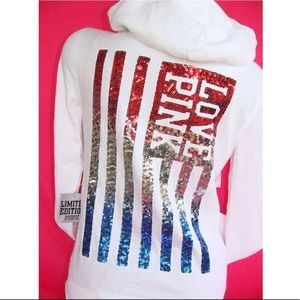 VS PINK Sequin U.S.A. Flag Hoodie Small